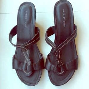 Predictions Black Leather Slides with Wedge heels.